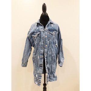 Zara Distressed Long Denim Jacket Size Medium
